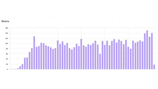 График показывает роста посещаемости сайта после запуска