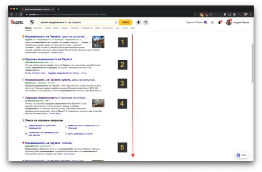 Органическая выдача Яндекса по запросу