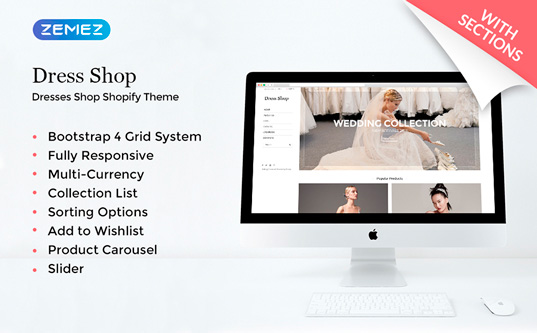 Адаптивный Shopify шаблон №68113 на тему свадьба